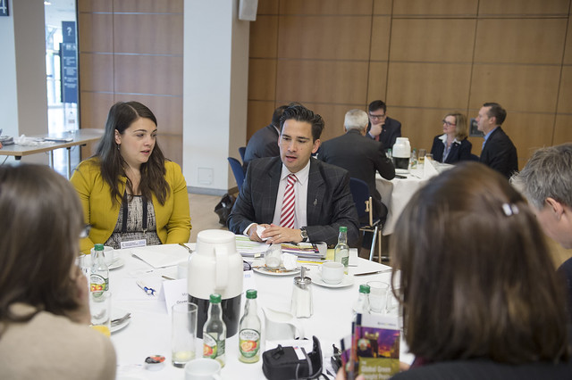 Simon Bridges and Katie Reid discussing the role of government in promoting gender equality