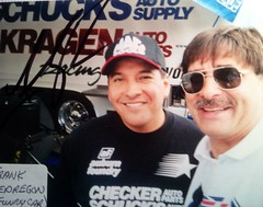 #48A-45B, NHRA, Funny Car, FRANK PEDREGON, Checkers, Pictures with Drivers (Picture Proof Autographs) Tags: photograph photographs inperson pictureproof photoproof picture photo proof image images collector collectors collection collections collectible collectibles classic session sessions authentic authenticated real genuine sign signed signing sigature sigatures auto autos vehicles vehicle model automobile automobiles driver drivers autoracing sport sports nhra topfuel funnycar prostock dragsters dragster racing series dodge charger intrepid ford thunderbird chevy lumina montecarlo pontiac grandprix taurus indy irl cart fredweichmann frederickweichmann fred frederick weichmann