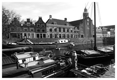 The Harbor (YIP2) Tags: city urban bw holland tree church water harbor boat spring rotterdam speedwell delfshaven nieuwemaas pilgrimfathers pelgrimskerk pilgrimfatherschurch