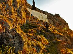 reaching our destination as the sun sets  ~ Panagia Kyra Psili Monastery ~ Greece ~ Kalymnos (M Lamprinos) Tags: travel sunset plants church rocks hiking greece monastery kalymnos dodecanese