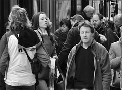 open your eyes (heiko.moser) Tags: street city portrait people bw woman streetart blancoynegro canon person mono blackwhite women leute noiretblanc candid strasse streetportrait nb menschen sw mann monochrom publicity schwarzweiss nero personen streetfoto schwarzweis streetfotografie heikomoser