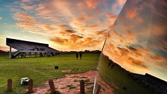 Working outdoor (CzechInChicago) Tags: sunset reflection window playground southafrica capetown footballfield za