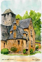 Vieux St Crpin , (Cat Gout) Tags: sketch village dordogne prigord watercolors glise