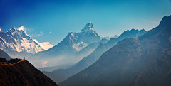 View of Ama Dablam (right) and Lhotse (left), Khumbu (Everest) Region, Himalaya, Nepal (CamelKW) Tags: nepal himalaya khumbu everest lhotse amadablam 2016 everestpanoram