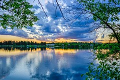 Silver lake (rashodmccray) Tags: trees sunset water colors clouds photography nikon lakes kitlens framing beginner bracketing d5200