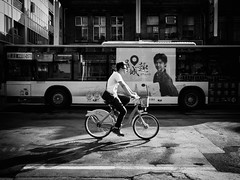 two-way traffic (dr.milker) Tags: street urban blackandwhite bw bus blancoynegro bicycle cyclist traffic noiretblanc taiwan taipei        nanchangroad ubike