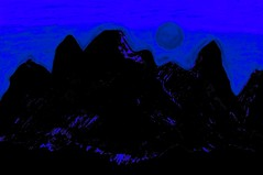 Moon Glow Over The Cascades 1  By Sherrie D. Larch (sherrielarch) Tags: blue moon mountain black moonlight nightsky mountshasta bluemoon mountaindesign blueandblack cascadesmountains moonlitnight sherrielarch