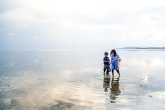 Walk on water (Bart Weerdenburg) Tags: gili giliair indonesia bali lombok water sea reflection children lowtide art simple