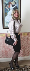 Shoulder bag and blouse (bethany_labelle) Tags: satin secretary pencil skirt handbag silky shiny tgirl transvestite