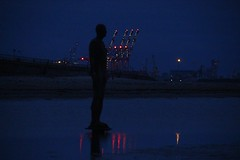 Reflections on another day (Andrew 62) Tags: waterloo liverpool beach coast sea anotherplace antonygormley night evening lights relections