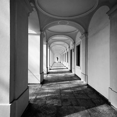 """In Tranquillitate Vis"" (helmet13) Tags: shadow bw sunlight statue architecture germany raw silence column cloister augsburg aoi 100faves peaceaward heartaward platinumheartaward world100f schzlerpalais d800e"