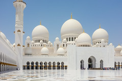 Sheikh Zayed Mosque - Exterior I. (Adam Haranghy) Tags: white church carpet religious gold amazing dubai place floor united religion rich uae lifestyle places mosque emirates zayed abudhabi arab huge abu dhabi luxury sheikh sheik allah koran vae marmor scheich zayid moschee