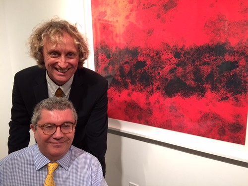 Artist Sebastian Spreng and partner Dani at the closing of his show and a concert at Kelly Roy Gallery