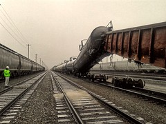 Oops! (BDM17) Tags: railroad cars train accident stock rail incident rolling lifted derail derailment