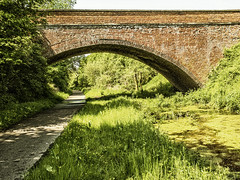 Bridge Over Troubled Water (enneafive) Tags: old railroad bridge brick green nature water walking biking railtrail