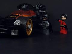 Can I Drive? (MrKjito) Tags: robin car comics dc driving lego time wayne superhero batman and minifig drake batmobile brcue