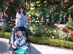 Dans le jardin du muse Massna (Dahrth) Tags: flowers roses woman garden raw stroller mother jardin bugaboo mre gf1 gf120 lumixmicroquatretiers lumixmicro43