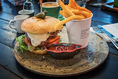 The Common Man Burger (leadin2) Tags: canon lunch restaurant singapore sweet beef x powershot g5 lettuce fries onion grilled patty pickle bun brioche provolone aioli 2016 wagyu g5x