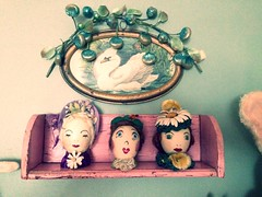 Perfectly Primitive Pink Shelf (luvehorror) Tags: pink swan folkart eggs oddthings eggheads primitives unusualobjects oldfolkart vintagecuriosities handmadeeggladies folkarteggs