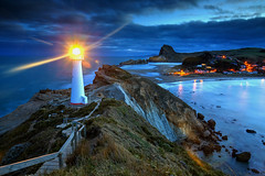 Castlepoint Light (hapulcu) Tags: newzealand northisland castlepoint oceania pacific wairarapa dusk lighthouse sunset winter