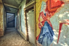 Lady in Red (Szydlak Szk) Tags: abandoned derelict forgotten lady red chateau corridor szydlak stairs staircase urbex painting wall door decay decaying urban exploration eerie spooky masion maison palace woman female secession decayed ruined architecture interior indoor classical