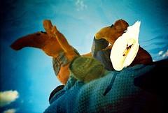 dropped a clanger (lomomowlem) Tags: lomo lomography analogue expired film lca xpro xprocess crossprocess kodakelitechrome ebx doubleexposure clangers swan bird craftclubyarnbombers lofi knitting mxbutton