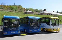 Cannon trio (Coco the Jerzee Busman) Tags: uk blue bus islands coach camo renault cannon jersey swift dennis tours dart channel leyland lcb plaxton tantivy
