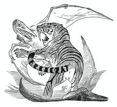 anachronistic battle 2 (moschops911) Tags: pterodactyl smilodon pterosaur sabertoothedtiger sabertoothedcat