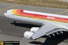 Airbus A340 Iberia Mariano Benlliure EC-IZX (Pasajeros en Tránsito) Tags: madrid tower canon airplane airport aircraft aviation airplanes airbus mad spotting a340 iberia aviones barajas taxiing spotters spotter lemd madridbarajas