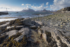 Rock pools and Cuillin Hills (Chris Haigh) Tags: sea mountains beach sunshine canon landscape boat rocks view isleofskye harbour snowy windy hills rockpools cuillin elgol eos7d chrishaigh