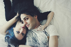 untitled (Val C.B Photography) Tags: portrait people cute love hairdye bed bedroom couple dyedhair