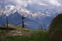 View from the trail (Marco MCMLXXVI) Tags: travel sky italy storm mountains alps tourism clouds landscape spring outdoor hiking path sony perspective piemonte trail po mountainside cuneo alpi montagna ostana rawtherapee a6000