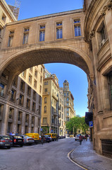 Barcelona architecture (Jan Kranendonk) Tags: barcelona old bridge blue homes sky people cars architecture buildings office spain europe european apartments flat gothic poor sunny spanish quarter historical parked tenements gotic barri