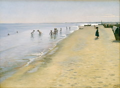 Sommerdag ved Skagens Snderstrand = Summer Day on South Beach at Skagen (Grandiloquences) Tags: girls beach boys swimming reflections children boats landscapes sand child play seascapes 19thcentury games beaches summertime recreation bathing swimmers fishingboats shores luminous waders skagen wading seafoam skinnydipping summers horizons splashing boysandgirls bathers 1880s landscapepaintings seashores beachscapes plashing beachresorts skinnydippers danishart kryer pskryer pederseverinkryer summerresorts danishartists danishpainters danishlandscapists skagenschool