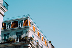 Baixa, Lisboa (n'yy) Tags: blue sky building portugal lamp composition tile photography 50mm arquitectura nikon lisboa lisbon balcony oldschool tiles azulejo azulejos nikond3100