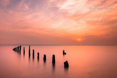 Calmness (davenewby123) Tags: longexposure sunset sea england sky cloud seascape beach water clouds canon landscape boat seaside movement waterfront unitedkingdom outdoor dusk primo shore vehicle serene fishingboats wirral merseyside irishsea meols heliopan canon6d davenewby