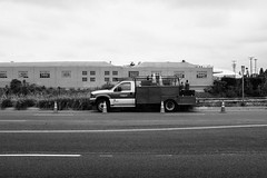 Work (bhop) Tags: california street city urban blackandwhite bw monochrome truck work los fuji angeles trix fujifilm digitalbw across culver x100 vsco x100t