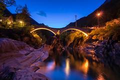 Ponte dei Salti (mierhhhlich) Tags: reflection schweiz switzerland tessin evening bluehour blauestunde wetreflection lavertezzo pontedeisalti kantontessin cantonoftessin