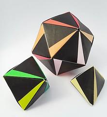 Tetra-, Octa- and Icosahedron with wedges (modular.dodecahedron) Tags: modularorigami tomokofuse tetrahedron octahedron icosahedron