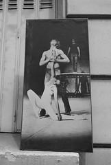 Dancers - framed poster on a window sill, Paris (Monceau) Tags: dancers poster blackandwhite windowsill paris