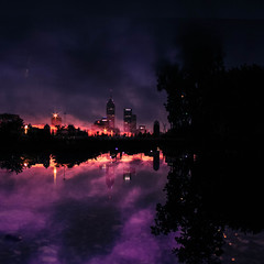 (cara zimmerman) Tags: sunset doubleexposure ref reflection puddle highlandpark city night skyline sky purple pink dark