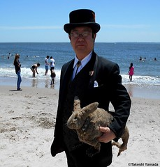 Dr. Takeshi Yamada and Seara (Coney Island Sea Rabbit) at the Coney Island Beach in Brooklyn, New York on June 9, 2016.  20160609Thu DSCN6462=0010pC2, Coney Island Beach (searabbits23) Tags: searabbit seara takeshiyamada  taxidermy roguetaxidermy mart strange cryptozoology uma ufo esp curiosities oddities globalwarming climategate dragon mermaid unicorn art artist alchemy entertainer performer famous sexy playboy bikini fashion vogue goth gothic vampire steampunk barrackobama billclinton billgates sideshow freakshow star king pop god angel celebrity genius amc immortalized tv immortalizer japanese asian mardigras tophat google yahoo bing aol cnn coneyisland brooklyn newyork leonardodavinci damienhirst jeffkoons takashimurakami vangogh pablopicasso salvadordali waltdisney donaldtrump hillaryclinton endangeredspecies save
