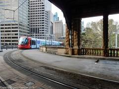 Sydney Light Rail - LRV2122 departs Railway Colonnade for the run to Hay Street (john cowper) Tags: sydneylightrail centralrailwaystation railwaycolonnade lrv2122 transportfornsw heritage sydney newsouthwales