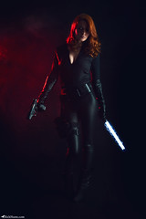Black Widow (Rick Nunn) Tags: uk red portrait hot leather contrast canon studio costume gun moody photographer cosplay smoke blackwidow glowstick marvel lowkey natasha baton avengers catsuit holster glock walther spadge smokemachine romanoff p99 nightstick strobist ricknunn spadgerina