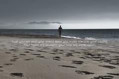 Towards your visions (tSos Greq) Tags: blue sea sky costa man beach silhouette walking coast mar sand mare quote horizon playa arena greece vision grecia soul figure hombre refran peloponessos zacharo kaiafa