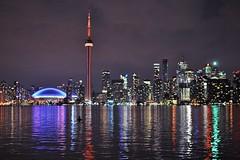 Toronto Skyline from Snake Island (Cominupshort) Tags: sky urban lake toronto ontario canada tower water night cn reflections island nikon snake centre jungle skydome rogers nikond5000