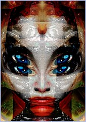 Working on the Bone Structure (Joe Vance aka oliver.odd) Tags: red white abstract colour art face female digital manipulated design artistic geometry working surreal structure angry bone ideas spinner blend chaotic fairyqueen stickybeak hypotheticalawards