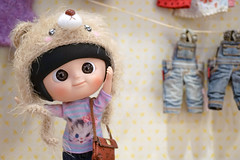 """BANGKOK - MAY 1, 2016 : Portrait shot of """"Mui-chan"""" in her cute teddy bear hoodie and casual T-shirt. Mui-chan is a ball-jointed doll (BJD) designed by Hong Kong Designer, IxDoll. Selective focus. (enchanted.fairy) Tags: cute toy muichan"""