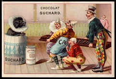 French Tradecard - Circus Acts #10 (cigcardpix) Tags: vintage advertising circus chocolate ephemera clowns chromo tradecards
