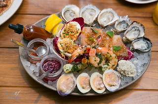 Small Platter with clams, oysters, tuna and deviled eggs